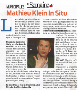 Municipales : Mathieu Klein in Situ (La Semaine)