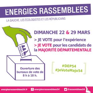 Les 22 et 29 mars, ne vous abstenez pas, votez en faveur de la majorité départementale